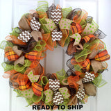Ready to Ship Fall Thanksgiving Mesh Front Door Wreath | Brown Orange Green : F1
