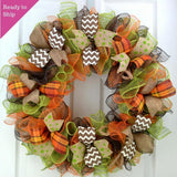 Fall Wreath Ideas | Thanksgiving Wreath Ideas | Fall Mesh Wreath
