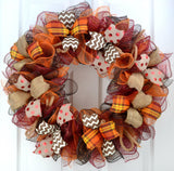 Maroon Orange Fall Thanksgiving Burlap Deco Mesh Door Wreath