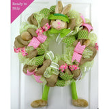 Easter Bunny Welcome Door Wreath; Pink, Burlap, Lime Green, White