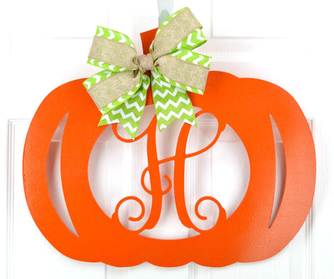 Pumpkin Decor | Pumpkin Initial Door Hanger - Pink Door Wreaths