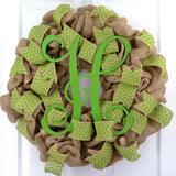 Green Chevron Burlap Monogram wreath | LOTS of colors!!