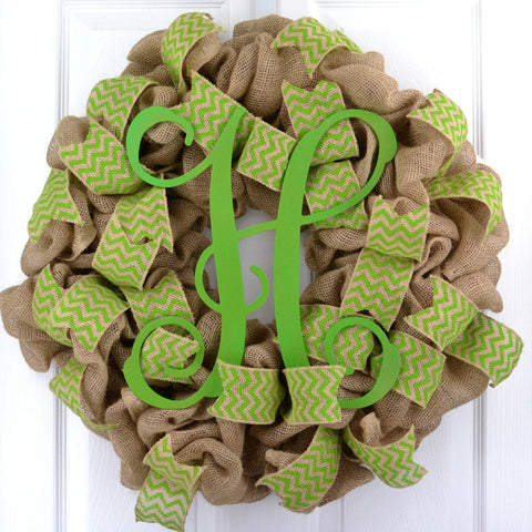 Green Chevron Burlap Monogram wreath | LOTS of colors!! - Pink Door Wreaths