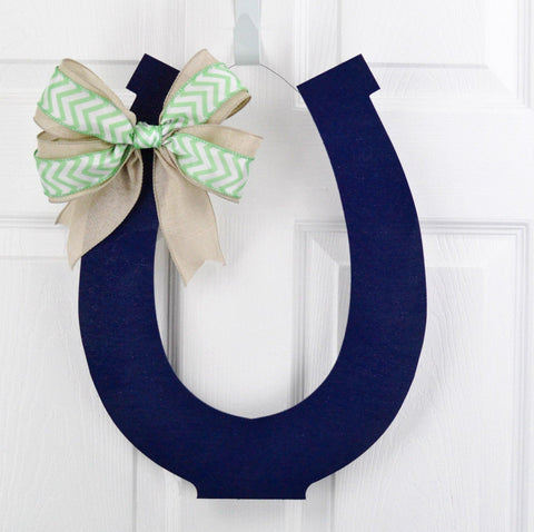 Kentucky Derby Party Horseshoe Door Hanger; LOTS of colors! - Pink Door Wreaths