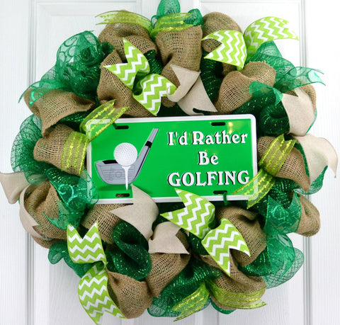 I'd Rather Be Golfing Wreath | Golf Green Burlap