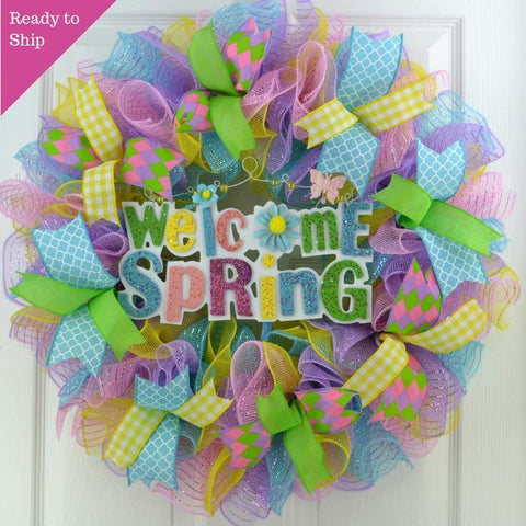 Welcome Spring Deco Mesh Door Wreath; Lavender Pink Turquoise Yellow