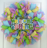 welcome spring pastel wreath
