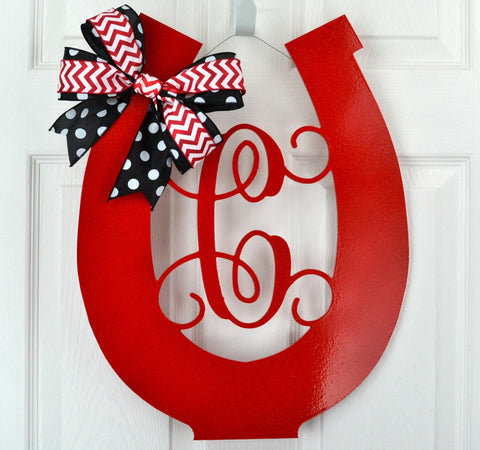 Red Kentucky Derby Party Monogram Door Hanger Horseshoe
