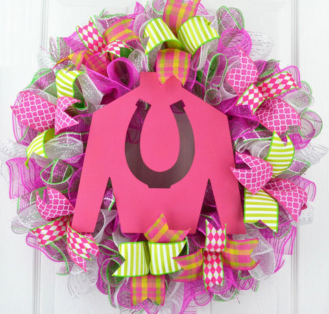 Jockey Silk Kentucky Derby Mesh Wreath; Pink White Green