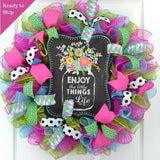 Spring Flower Enjoy the Little Things Welcome Deco Mesh Door Wreath; Turquoise, Pink, Black, Green