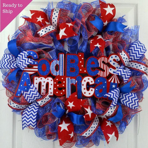 God Bless America Wreath | 4th of July Wreath | Red White Blue - Pink Door Wreaths