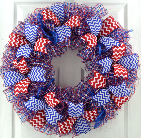 Mesh Door Wreath; red white blue