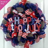 Happy Fourth of July Independence Day Mesh Door Wreath | Red White Navy Blue