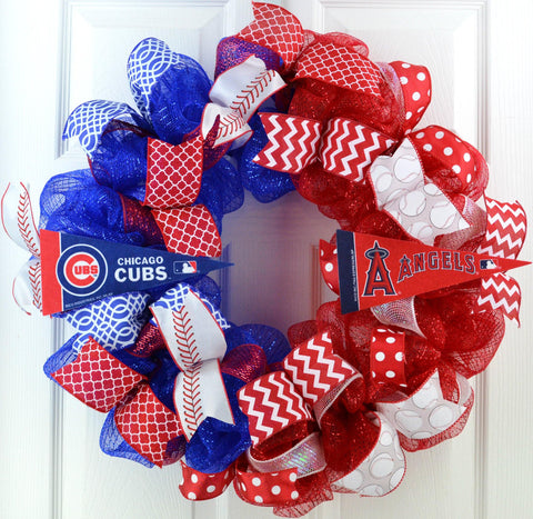 House divided baseball deco mesh door wreath