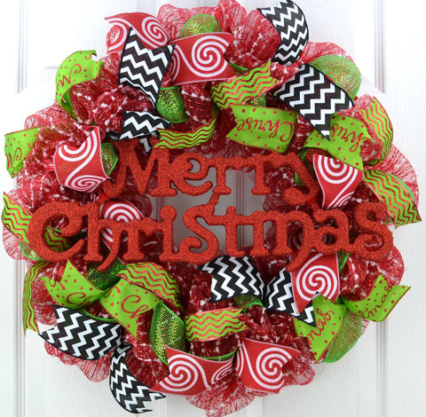 Candy Cane Whimsical Christmas Wreath | Red White Black Lime Green