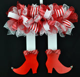Elf Wreath | Christmas Holidays Legs Deco Mesh Wood Door Wreath; Red White Candy Cane Stripe