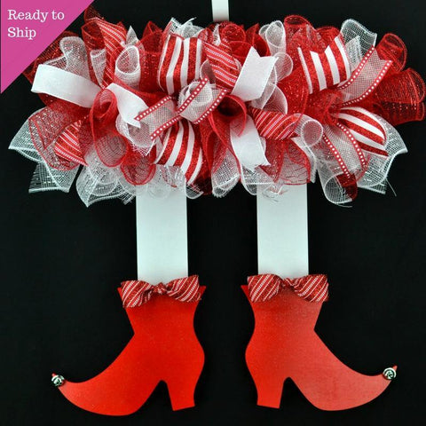 Elf Christmas Skirt Mesh Front Door Wreath | Red White Candy Cane Stripe