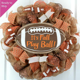 Football Its Fall Play Ball Deco Mesh Outdoor Front Door Wreath : Brown Orange Burlap Jute