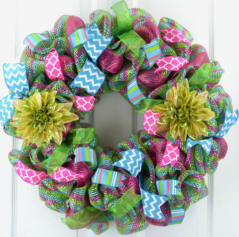Wreath Door Spring Summer FLOWERS lime green pink teal sparkle ribbons