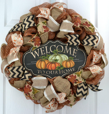 Welcome To Our Home Deco Mesh Wreath; Copper Black Brown