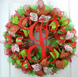 Red Lime Green White Red Monogram Mesh Christmas Door Wreath