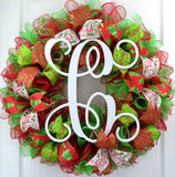 Red Lime Green White Monogram Mesh Christmas Door Wreath
