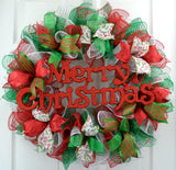Traditional Christmas Wreath | Red Emerald Green White Mesh Christmas Decor