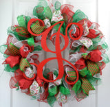 Traditional Christmas Wreath | Red Emerald Green White Mesh Christmas Decor - Pink Door Wreaths