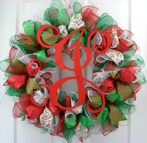Red And White Christmas Wreath.Traditional Christmas Wreath Red Emerald Green White Mesh Christmas Decor