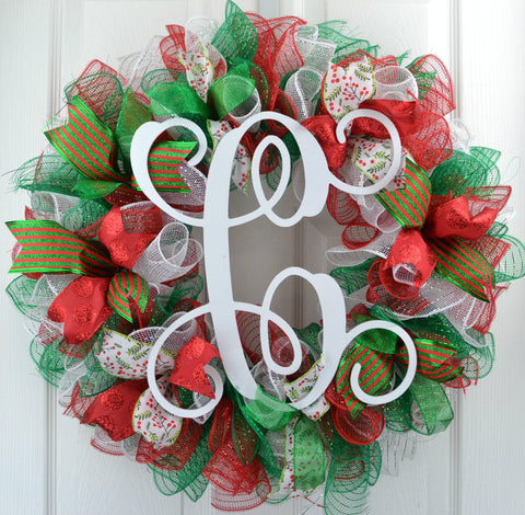 Traditional Christmas Wreath Red Emerald Green White Mesh