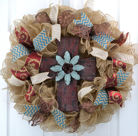 Cross Year Round Burlap Door Wreath | Brown Ivory Turquoise