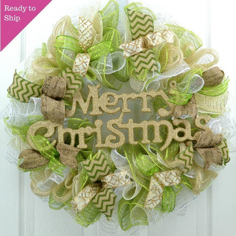 Merry Christmas Mesh Outdoor Front Door Wreath; Gold, Cream Ivory, Moss Apple Green, Burlap, White