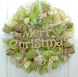 Merry Christmas Wreath Gold, Cream Ivory, Moss Apple Green, Burlap, White