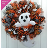 Ghost Wreath | Mesh Front Door Outside Wreath; Orange Black White