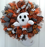 Ghost Head and Tail Halloween Wreath