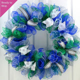 Winter Mesh Front Door Wreath | Hanukkah Wreath | Blue Green White Silver