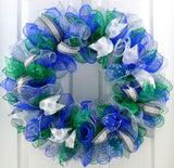 Blue Green White Silver Winter Wreath