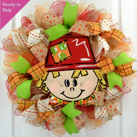 Thanksgiving Deco Mesh Wreath | Scarecrow Handpainted Fall Front Door Mesh Wreath