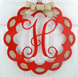Black and Burlap Scalloped Monogram door hanger | LOTS of colors! - Pink Door Wreaths