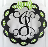 Black and Green Scalloped Monogrammed Door Hanger | LOTS of colors!