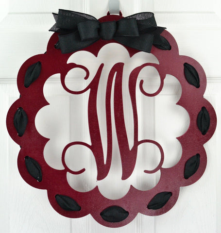 Maroon and Black Monogrammed Wreath | Wooden Door Hanger | Customize Me!