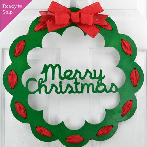 Christmas Door Hanger | Christmas Wreath | Thin Christmas Door Decor | Christmas Decoration - Pink Door Wreaths