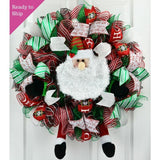 Santa Wreath | Christmas Mesh Outdoor Front Door Wreath; White Red Lime Green Black