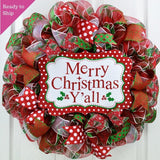 Merry Christmas Wreath | Merry Christmas Y'all | Mesh Front Door Wreath | Red Green White