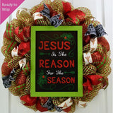 Religious Christmas Wreath | Jesus is the Reason for the Season Mesh Front Door Wreath