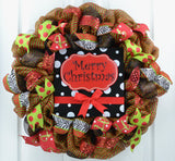 Red and Black Christmas Wreath