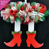 Christmas Elf Skirt and Legs Mesh Wreath | Red White Emerald Green