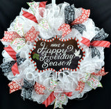 Have a Happy Holiday Season Snow Christmas Wreath