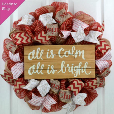 Rustic Christmas Wreath | Burlap Christmas Wreath | Outdoor Front Door Wreath | Red Jute White