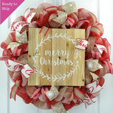 Merry Christmas Wreath | Rustic Christmas Wreath | Outdoor Front Door Wreath | Red Jute White